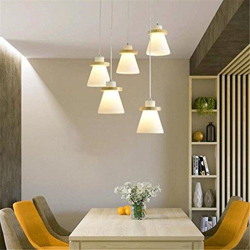 KMY Holz Leuchter Moderne Minimalistische 5-Kopf-Gummi-Holz Kreative Pferdeschuh-Design Pendant Licht Für Café-Schlafzimmer