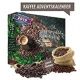 ganze Bohnen Kaffee Adventskalender I Weihnachtskalender mit 24 edlen Kaffees aus aller Welt I erlesener feiner gemahlener Kaffee Kalender als Probierset zum Verschenken