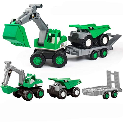 XDLH Kinder 3 In 1 Exzierer/Engineering Truck/Dump Truck Kit-Urban Building Model-Kindergeschenke,Green (Trailer Dump-kit)