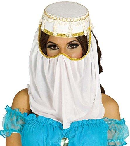 Damen Weiß Arabisch Arabischer Kopfschmuck Kopf Gesicht Hülle Genie Bauchtänzerin Kostüm Kleid Outfit Hut Zubehör - Weiß, Weiß, One size