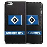 DeinDesign Leder Flip Case kompatibel mit Apple iPhone 6 Plus Tasche Hülle Hamburger SV HSV Fanartikel Merchandise