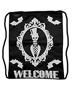 Des bonbons ou un sac avec le squelette motif