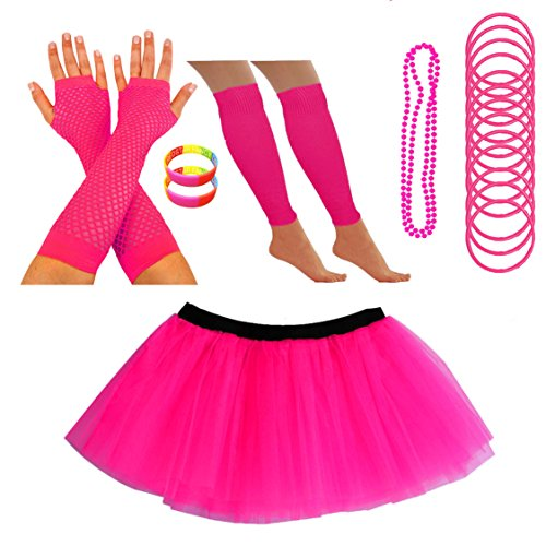 Neon Tutu Skirt Leg Warmers Fishnet Gloves Necklace Beads Gummy Bracelets and Neon Wrist Beads (14-22 - 9 Colours)