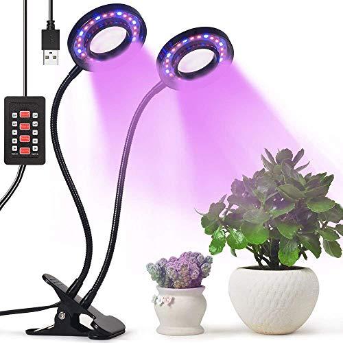 Lovebay 12W 36-LED Pflanzenlicht(24 Rote,12 Blaue)||Zimmerpflanzen Pflanzenlampe||Dimmbar 5 Lichtstärken||mit Klemmhalterung||3 Modes Timer (3H/6H/12H)||360 ° flexibler