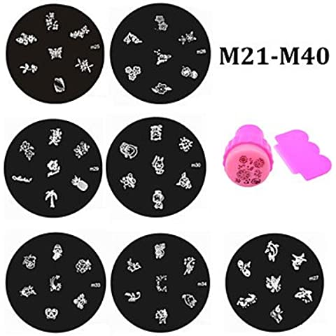 alallti 20pcs Nail Stamping Piatti e Stamper Raschietto Set, Nail Art polacco Stamp Manicure Nail Strumenti Stencil m21-m40
