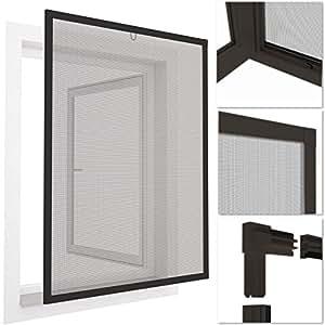 easy life insektenschutz fenster easyline 80 x 100 cm grau alu rahmen weitere gr en und. Black Bedroom Furniture Sets. Home Design Ideas