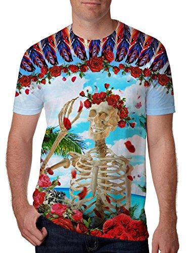 Leapparel unisex uomini e signore grafica 3d stampa manica corta divertente t-shirt con teschio di zucchero del modello nero xxl