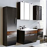 Badmöbel Set 5-teilig ● Hochglanz Anthrazit & Walnuss ● Badezimmer Komplettset: Spiegelschrank, Waschtisch mit Unterschrank, Hochschrank, Hängeschrank, Unterschrank