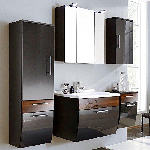 Badmöbel Set 5-teilig ● Hochglanz Anthrazit & Walnuss ● Badezimmer Komplettset: Spiegelschrank, Waschtisch mit Unterschrank, Hochschrank, Hängeschrank, Unterschrank -