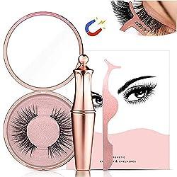 Magnetische Wimpern, Magnetischer Eyeliner Magnetic Eyelashes Kit Wasserdichter, Langlebiger Eyeliner Mit 3D Falschen Wimpern Magnetic Eyeliner Wiederverwendbare Natürlicher Look (Diamond-5)
