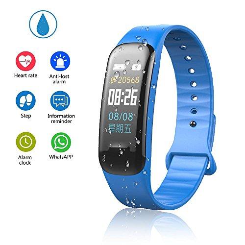 Teepao - Reloj de seguimiento de actividad básico, pulsera inteligente delgada, resistente al agua, con monitor de sueño, podómetro inteligente para pasos de distancia, calorías, color azul