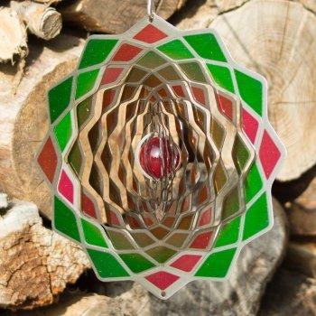 Edelstahl Windspiel – Flower 200 Lotus – beidseitig koloriert – mit Haken, Kugellagerwirbel und Kristallkugel (Lotus) - 2