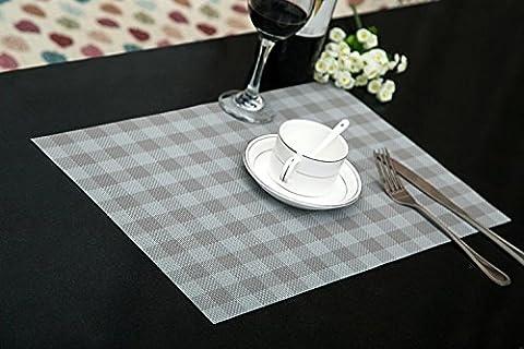 Set de table Plastifié Petite grille grise PVC Placemats Dining Table Sets Clest F&H Résistant à la Chaleur (Set of 2 pcs)