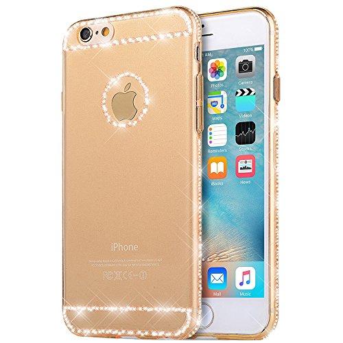 iPhone 6S Custodia, Cover iPhone 6 , Bonice Ultra trasparente Crystal Diamante Rhinestone TPU Silicone Gel Bling Morbido Sottile Case Per iPhone 6 6S(4.7) -oro 2