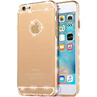 iPhone 5S Custodia, Cover iPhone 5 , Bonice Ultra trasparente Crystal Diamante Rhinestone TPU Silicone Gel Bling Morbido Sottile Case Per iPhone 5 5S SE –oro 2