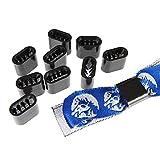 Textilband Verschluss Kunststoff Schwarz - 10 Stück - Flach