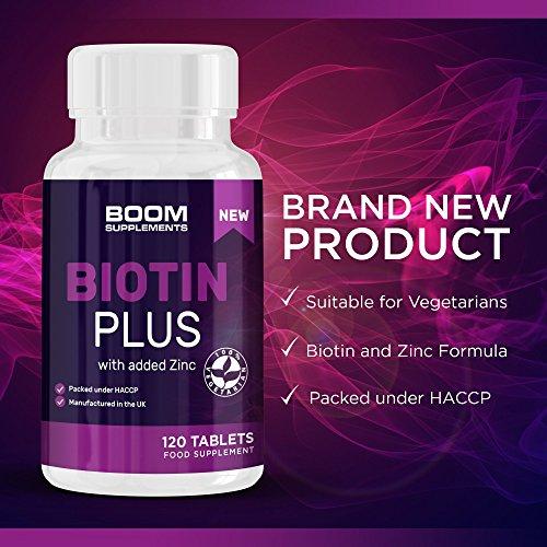 Biotina 10000 mcg Plus | 120 píldoras de biotina para el cabello  con zinc añadido | Biotina y Zinc | Tabletas para el crecimiento del cabello  para mujeres | Garantía total por 30 días