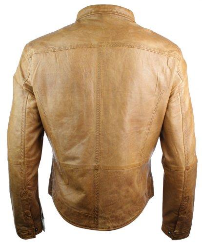 Herren Shirt Style Retro Leder Jacke in Holz Tan Braun Braun