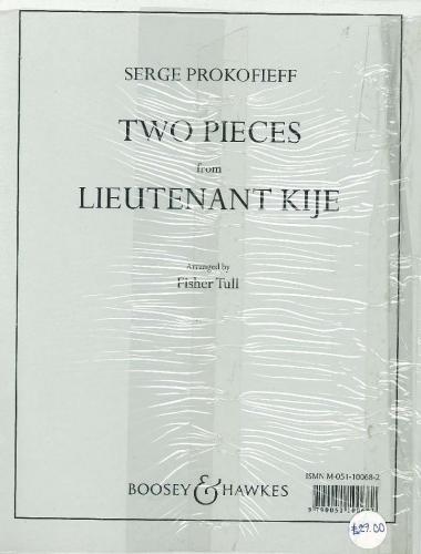Zwei Stücke: Leutnant Kijé (ENB 68). 6 Trompeten, 2 Hörner, 2 Posaunen, Bass-Posaune, 2 Baritone, 2 Tuben und Schlagzeug. Partitur und Stimmen.