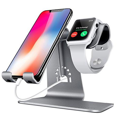 Bestand 2 in 1 supporto da tavolo in allumiio per smartphone e tablet & apple Watch. Base di ricarica per Apple iwatch/iPhone/iPad ¨C Grigio