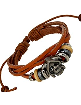 adiasen 1Stück handgefertigt Perle Totenkopf Weave Rindsleder Vintage Punk Armband Armband für Frauen Herren...