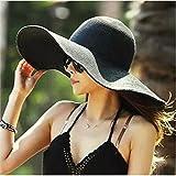 ETGtek(TM) Verano grande ancho plegable de la playa del borde del sombrero de Sun de vacaciones ocasional de viajes a Cap playa de la paja Sombreros elegantes para las mujeres-Negro