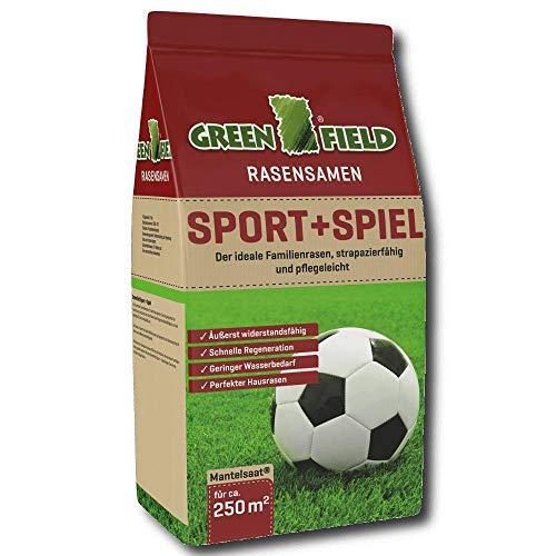 Greenfield Sport und Spiel Rasen Samen 5 kg Gras Saatgut Mantelsaat Familie 250 m²