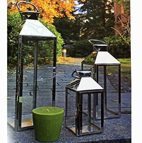 FineHome 3er Set XXL Gartenlaterne aus rostfreiem Edelstahl Windlicht Laternen Set Höhe 24/40/53cm