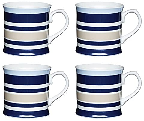 KitchenCraft Porcelain Horizontal Stripe Tankard Shaped Mug, Multi/colour (Set of 4),