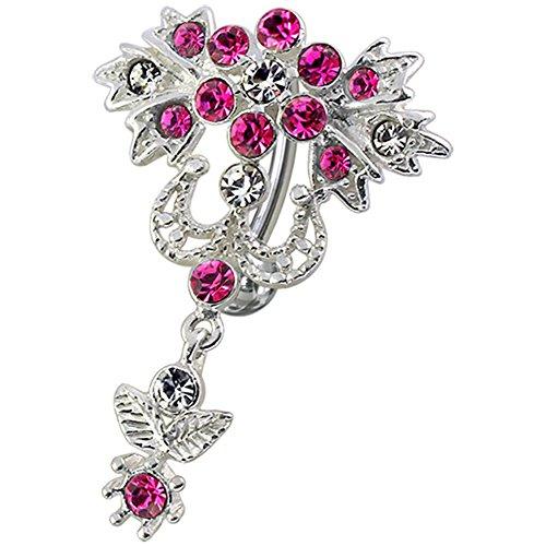 Rosa Kristall Stein Trendy Blume Reverse Bar Design Sterling Silber Bauch Bars Piercing