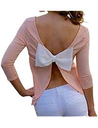 Vovotrade Mujer sin espalda de la camiseta