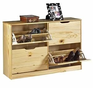 Meuble rangement chaussures basil pin vernis naturel - Rangement chaussures amazon ...