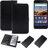 K-S-Trade 360° Wallet Case Handyhülle für General Mobile 4G Schutz Hülle Smartphone Flip Cover Flipstyle Tasche Schutzhülle Flipcover Slim Bumper schwarz, 1x