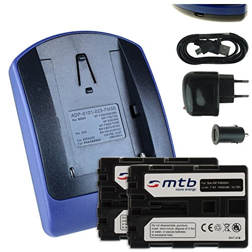 2 Akkus + Ladegerät (Netz+Kfz+USB) FM500H für Sony DSLR Alpha A300 A350../ SLT-A58 A65 A77 A68 A99 (II).. / ILCA-77M2 - s.Liste! 1a Power Supply Kit