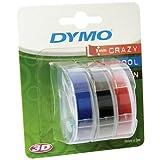 3er Set 3D Prägeband für DYMO Omega, Schwarz, Rot, Blau 9 mm, Schriftband-Kassette, Farbband, je 3mtr.