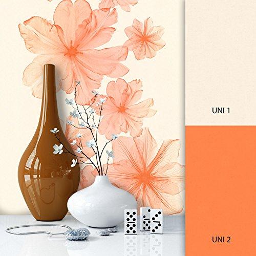 NEWROOM Blumentapete Orange Vliestapete Struktur,Textil,Unis schöne moderne und edle Design Optik,...