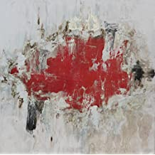 Angie Decoration Cuadro Abstracto Moderno, Acrílico, Rojo, 80x4x80 cm