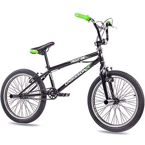 CHRISSON 20 Zoll BMX Kinderfahrrad - Trixer One schwarz - Freestyle BMX Fahrrad für Kinder, Street Bike mit 360° Rotor-System, 4 Stahl Pegs und Kettenschutz