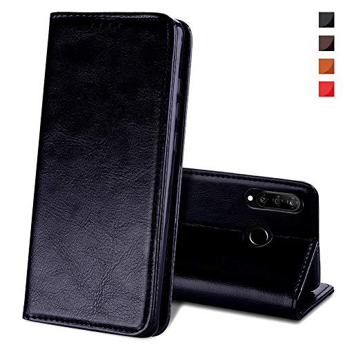 EATCYE Hülle für Huawei P30 Lite [Echtleder] Handyhülle [Extra Dünn] Brieftasche flip Lederhülle Schutzhülle [Versteckt Magnet] Premium Design Echt Leder Brieftasche - Schwarz