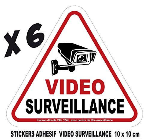 camera video surveillance lot 6 stickers adhesif 10x10cm avertissement signalisation