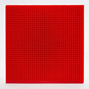 EduToys Base Plate Board for Building Blocks Bricks Compatible with All Brands (Red, 10 x 10-inches, 32 x 32 Pegs)
