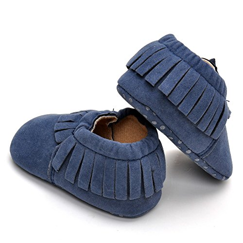 Infant Unisex Wildleder Mokassins Fist Walking Schuhe, Grau - Grau - Größe: 12-18 monate Blau