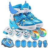 Love Life Inline-Skates mit verstellbarem Rollschuh, Kinderschuhe mit blinkenden Rädern, bequemes, atmungsaktives Obermaterial, einstellbare Größe in Blau und Rot,Blue,M