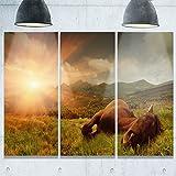 Design Art Schlafsack Pferd Berge Landschaft Foto Metall Wand Kunst, (3), grün, 91,4x 71,1cm