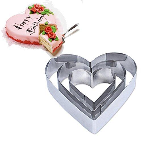 TAMUME Edelstahl Herz Kuchen Zinn Satz von 3 für Schicht Kuchen Form Mousse Ring Form ideal für Hochzeits Kuchen Form und Dessert Form (Herz)