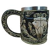 Colinsa Gravur Bierkrüge,Innovative 3D Ox-Kopf Muster Harz+Edelstahl Tee Wein Bier Becher Mug,400-500ml