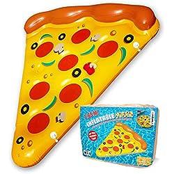 Mikamax - Pizza Inflable - 1,9m - Gigante con Forma de porción de Pizza para la Piscina - Pizza Inflatable - Gigante Hinchable Piscina Flotante Tumbona