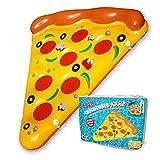 mikamax Aufblasbare Pizza 1.65 Meter - Pool Floß - Pizzastück für den Pool - Inflatable Pizza - Luftmatratze mit Becherhalter