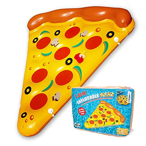 mikamax - Pizza Luftmatratze - Inflatable Pizza - Aufblasbare Pizza Pool - 1.65 Meters - Pizzastück Luftmatratze mit Becherhalter