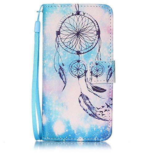 Schutzhülle für iPhone 6s Plus Tasche Gold,BtDuck Solide Slim PU Leder Flip Cover Hülle Lanyard Ledertasche Wallet Case Blossom Blume Elegant Embrossed Handytasche für iPhone 6 Plus 5,5 Zoll Cases Etu Blaue Campanula